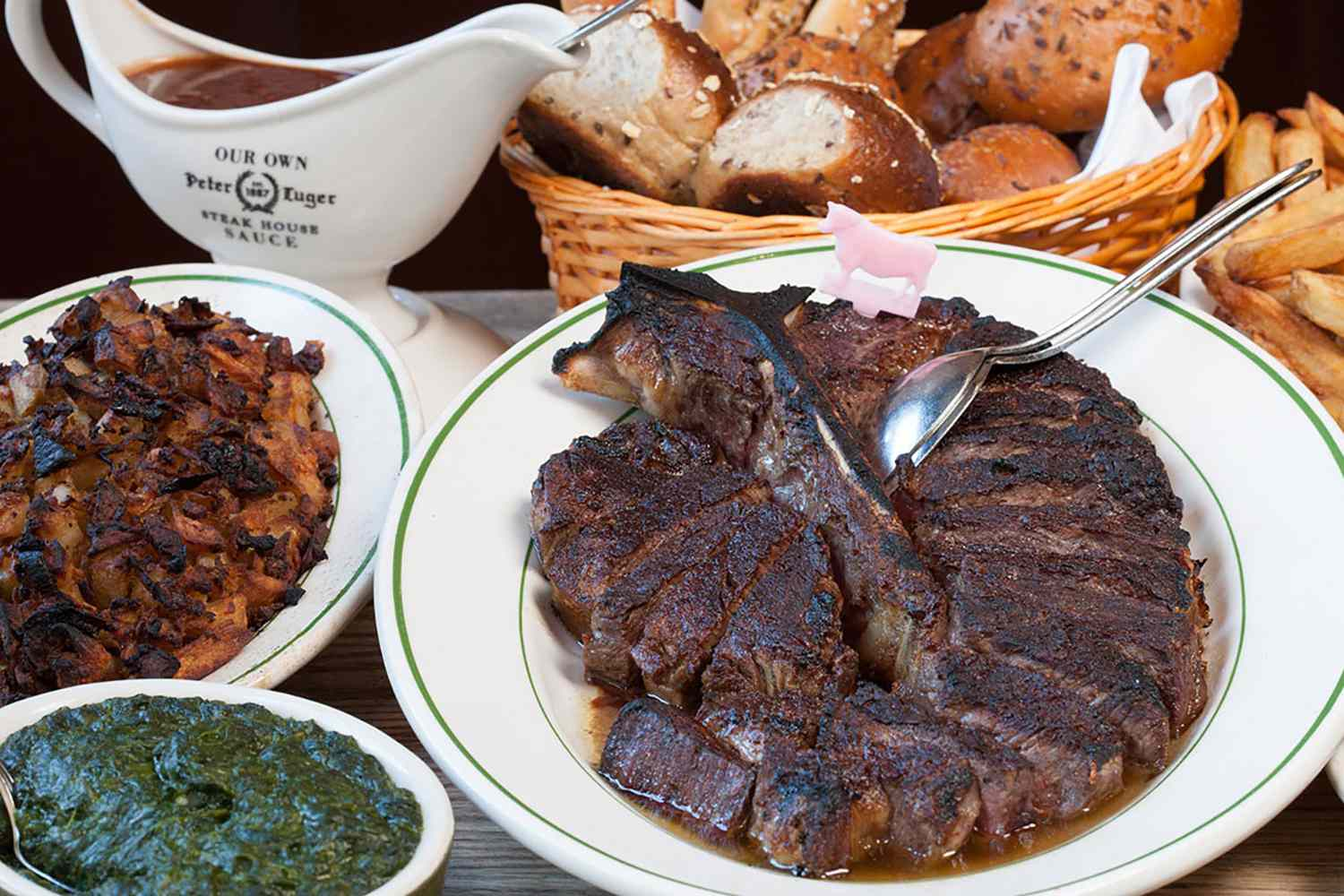 Delicious food at Peter Luger Steakhouse in Brooklyn