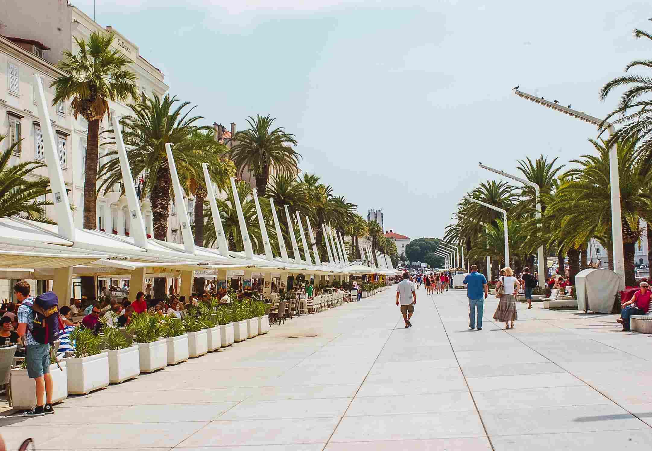 People walking down the main strip in Split