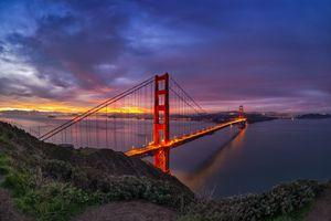 San Francisco Bay and Golden Gate Bridge at sunrise.