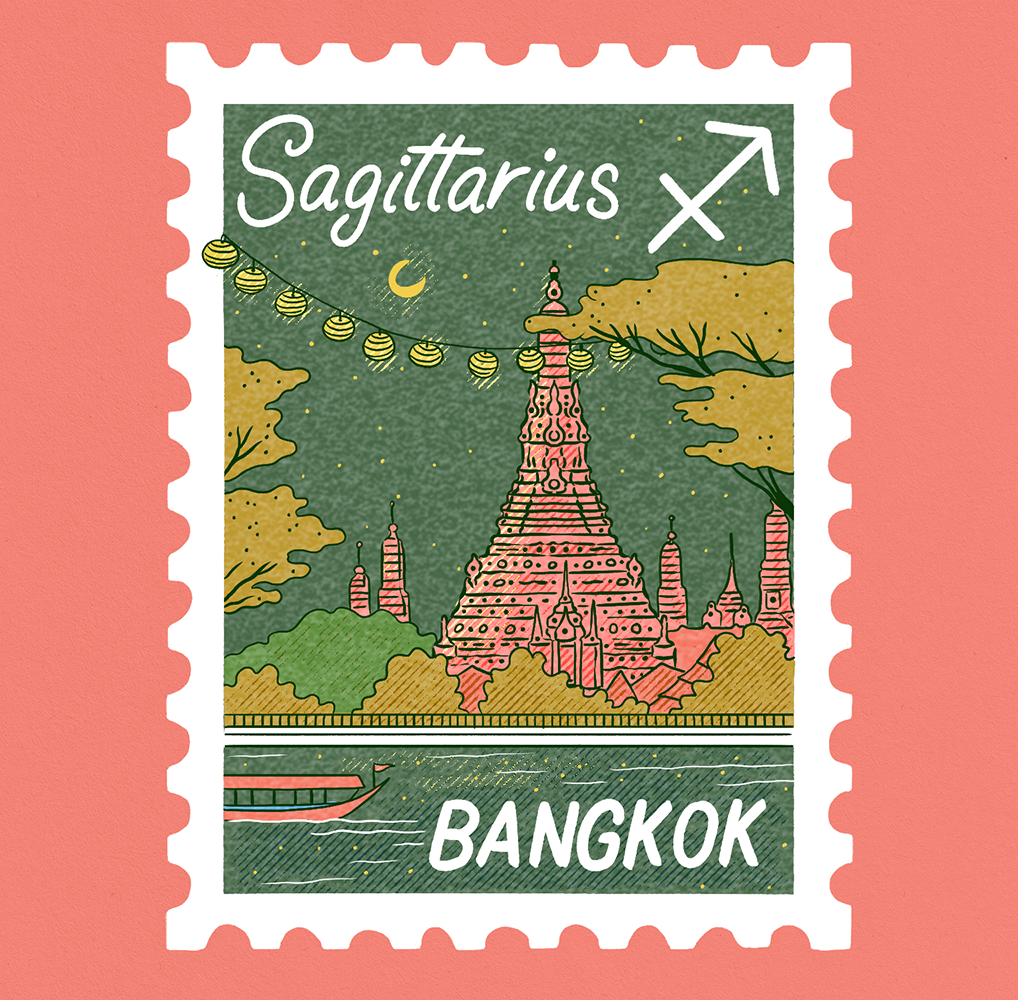 An illustration of a stamp with a scene in Bangkok. Wat Arun tower at night with hanging lamps across trees. Sagittarius is written on it.