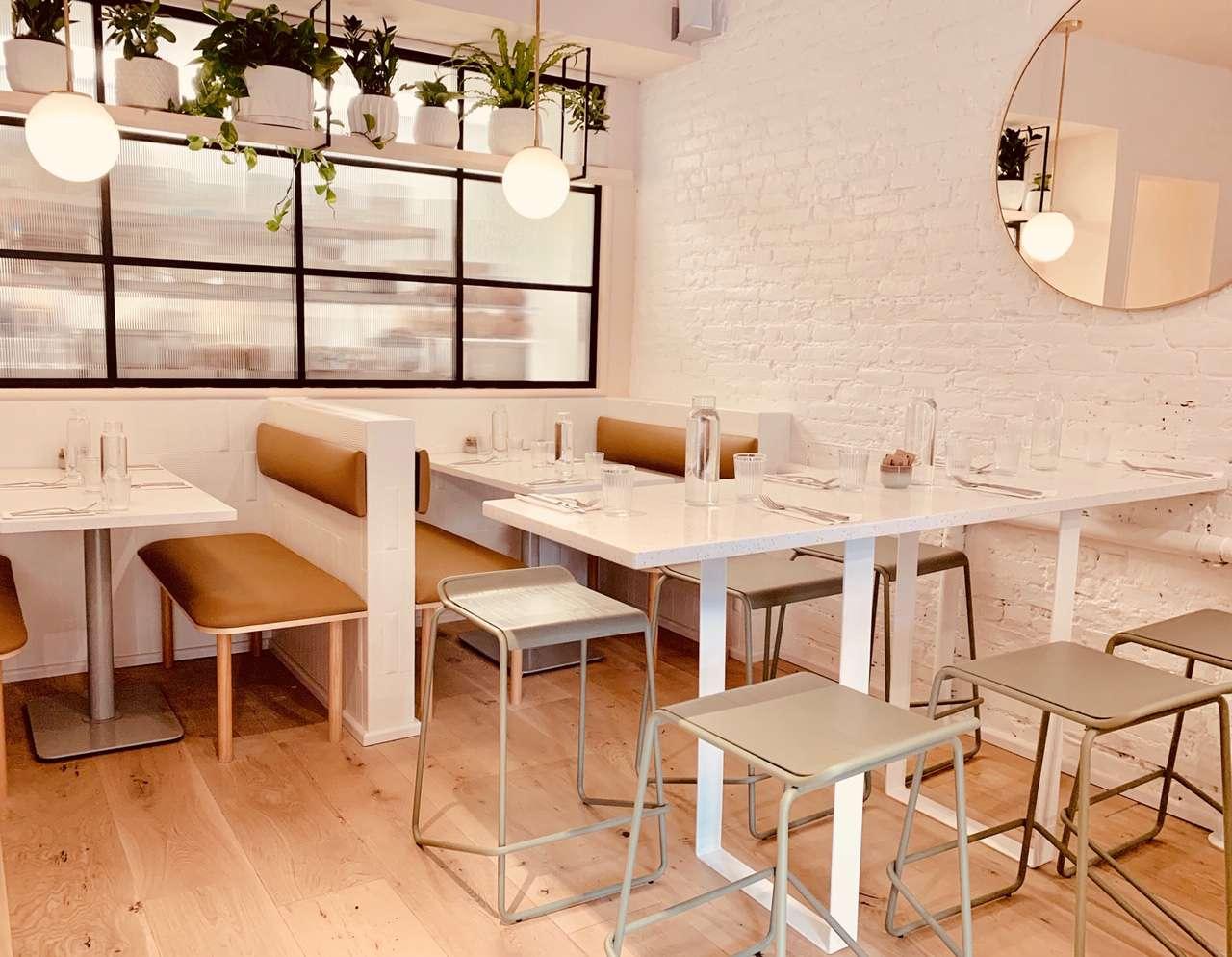 Light-colored interior of Banter restaurant