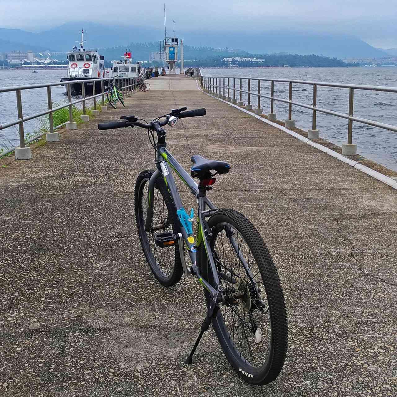 Bike on Tolo Harbour wharf, Hong Kong