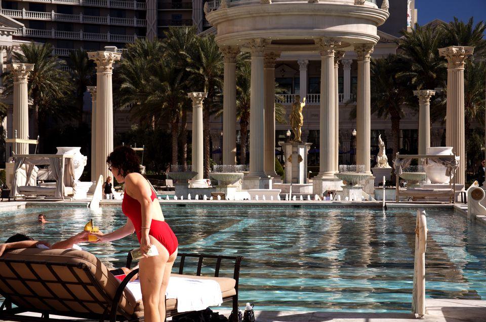 Swimming pool at Caesars Palace.