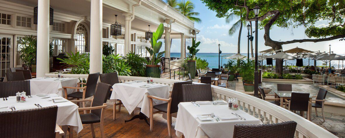 Dining area at the Moana Surfrider