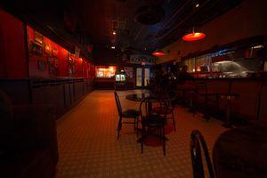 Inside the empty bar of Earnestine & Hazel's