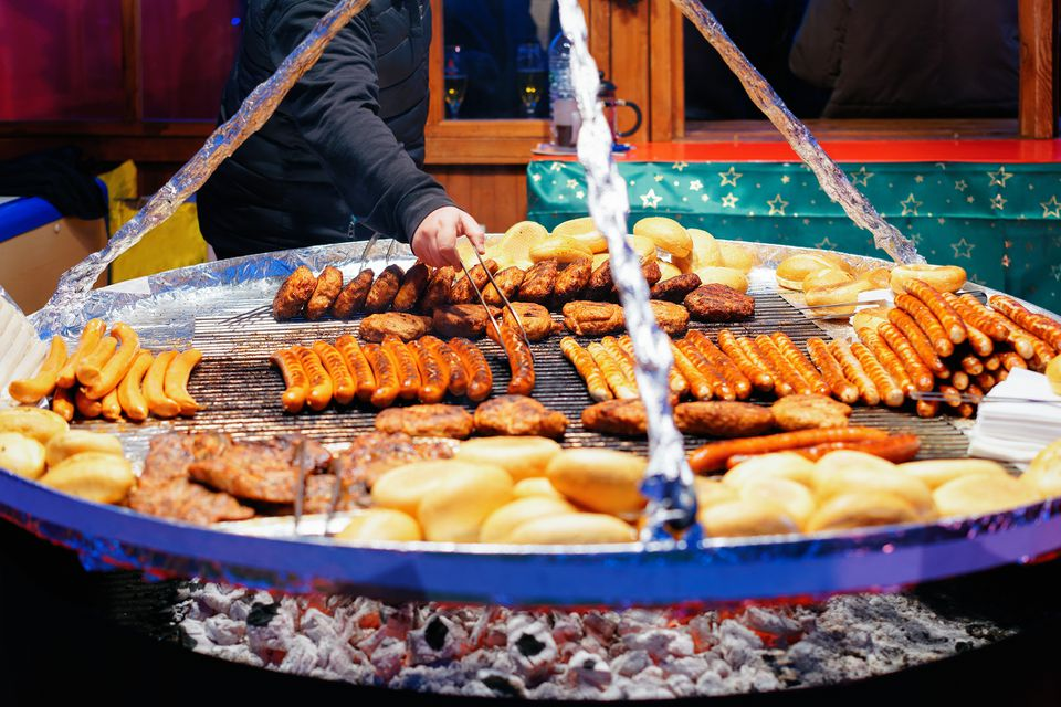 Grilled sausages at Night Christmas Market at Town Hall Berlin