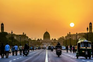 The Rashtrapati Bhavan during sunset time, India.