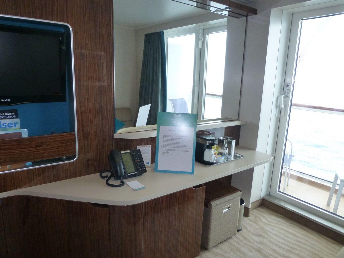 Norwegian Breakaway Balcony Cabin Desk and Television