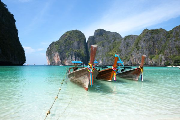 Longtail boats parked at the islands in Thailand