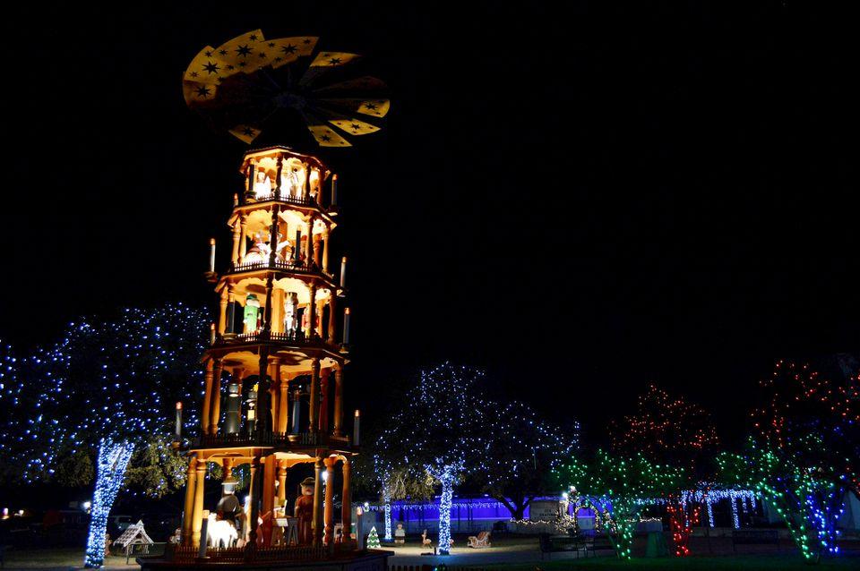 Exhibición de luces navideñas en Fredericksburg