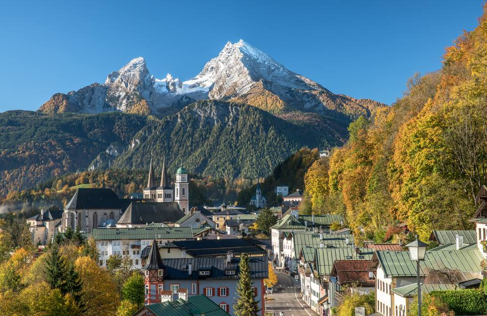 Berchtesgaden in autumn, Bavaria, Germany Europe View to town of Berchtesgaden and Mount Watzmann.
