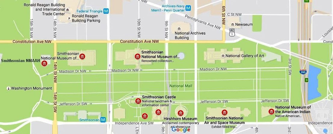 Smithsonian Museums Map and Directions on