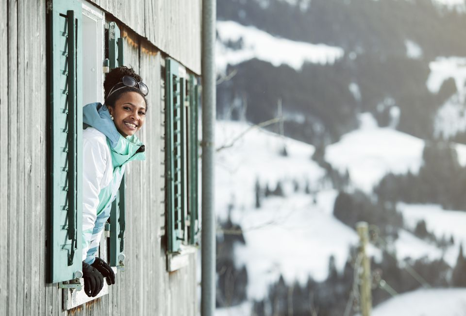 young woman in Swizz Charlet/ cabin