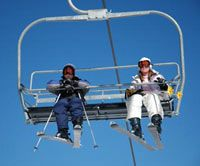 Riding the lift at Mt. Rose Ski Tahoe