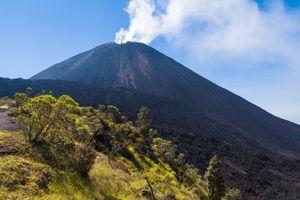 Eruption in volcano Pacaya in Guatemala, Central America. 2552 meters. Cordillera Sierra Madre, Central America.