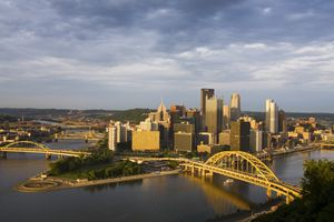 Elevated view of the Pittsburgh skyline at sunset