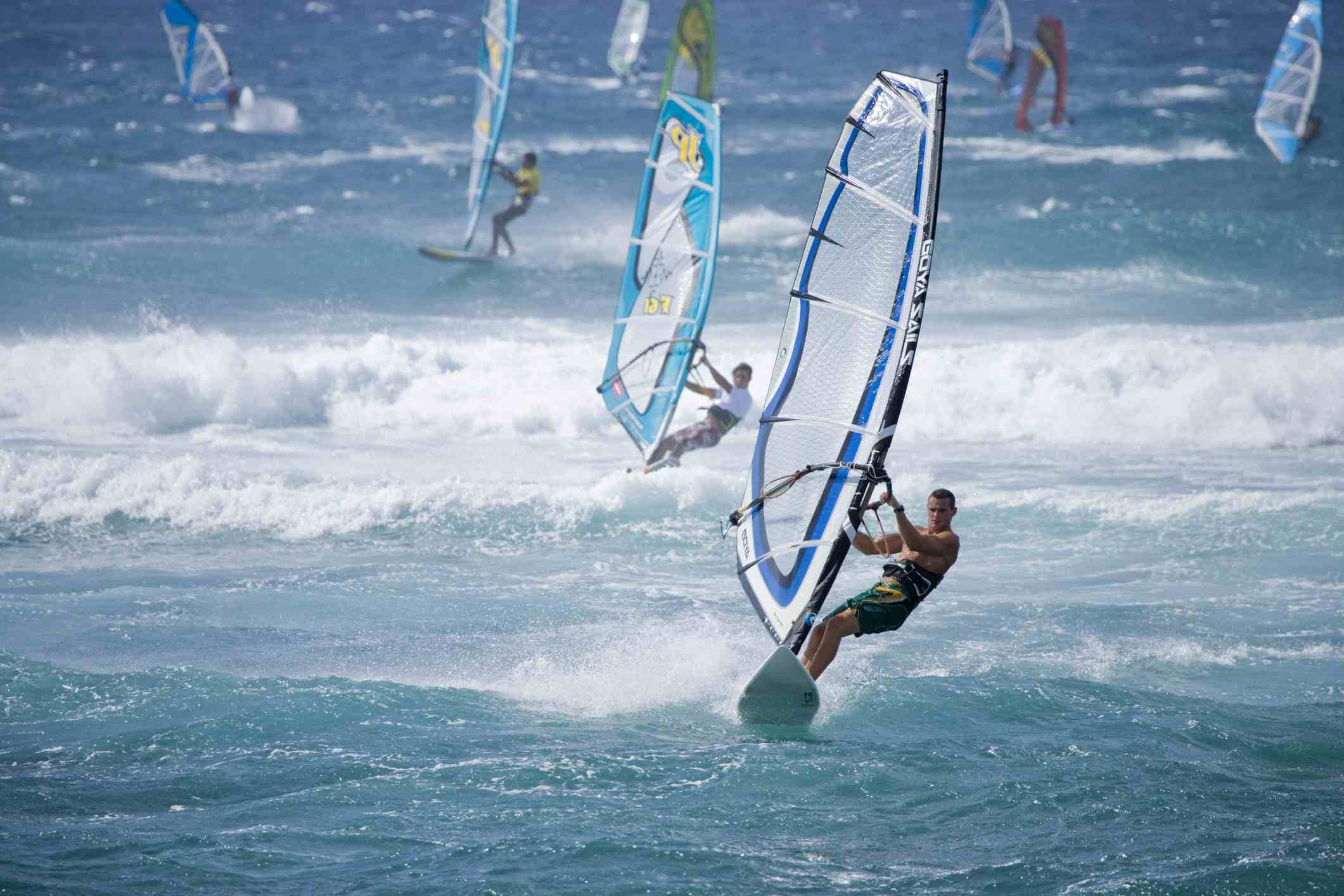 Windsurfers At Ho Okipa Beach Park On Maui S North