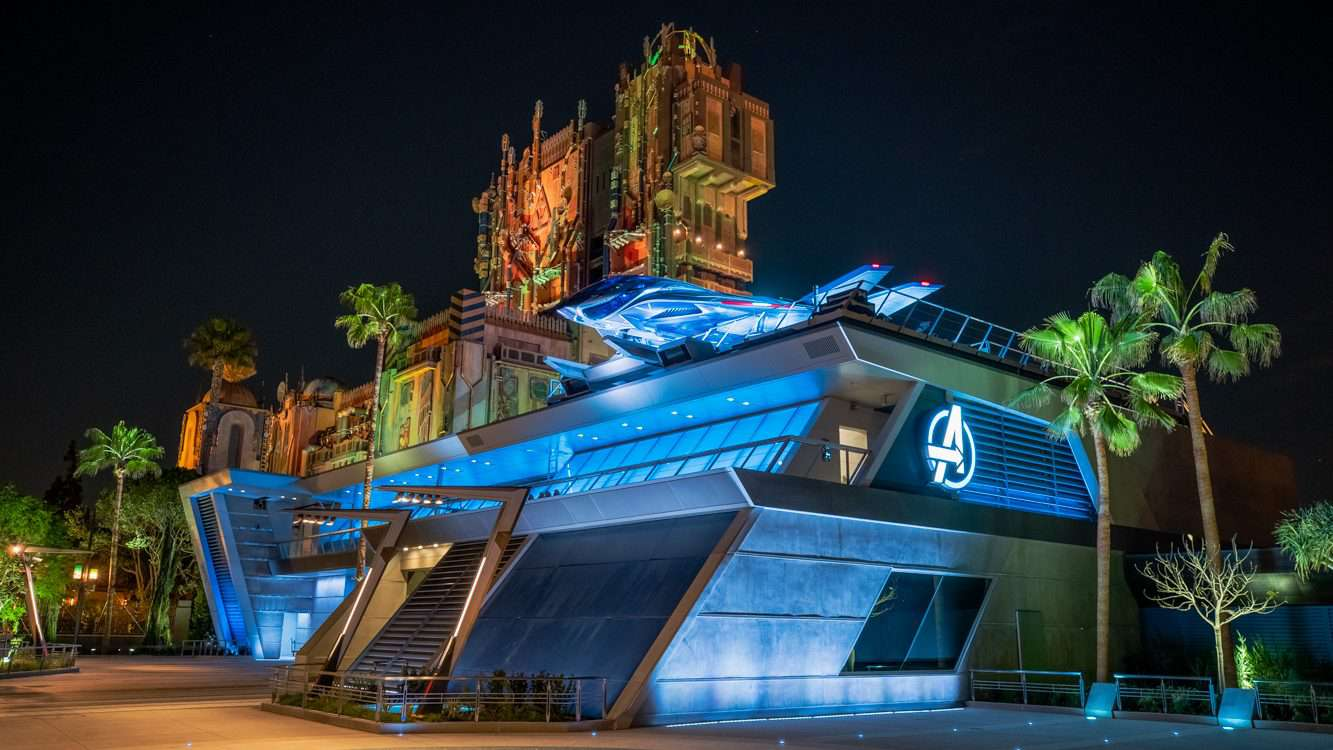 Avengers Headquarters with Quinjet at Avengers Campus