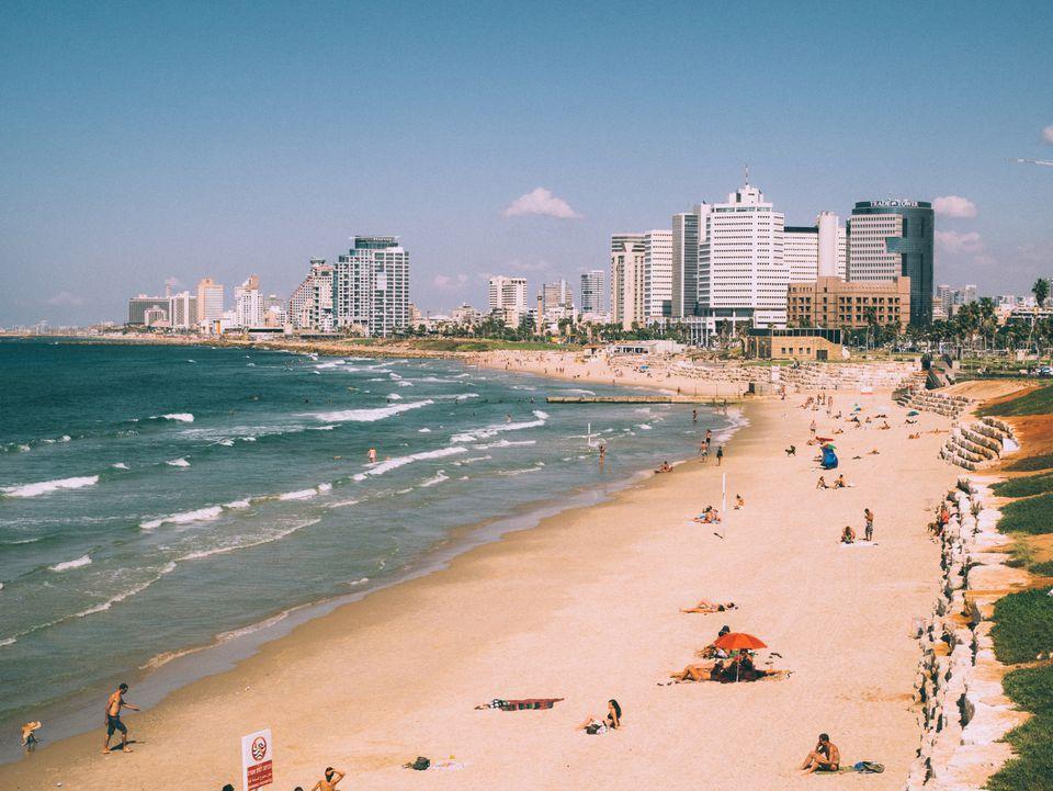 High angle view of people on beach in Tel Aviv, Israel
