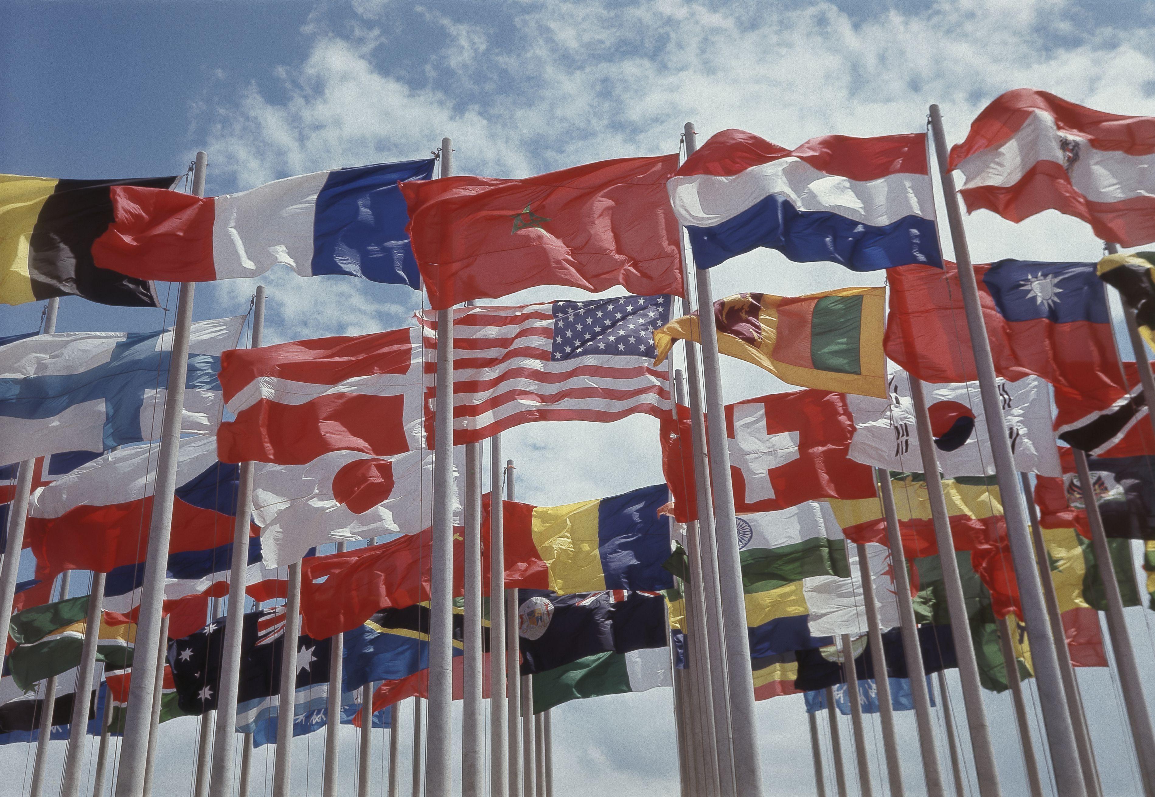 Various national flags against sky