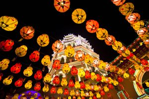 Chinese New Year Lights on Kek Lok Si Temple, Penang, Malaysia