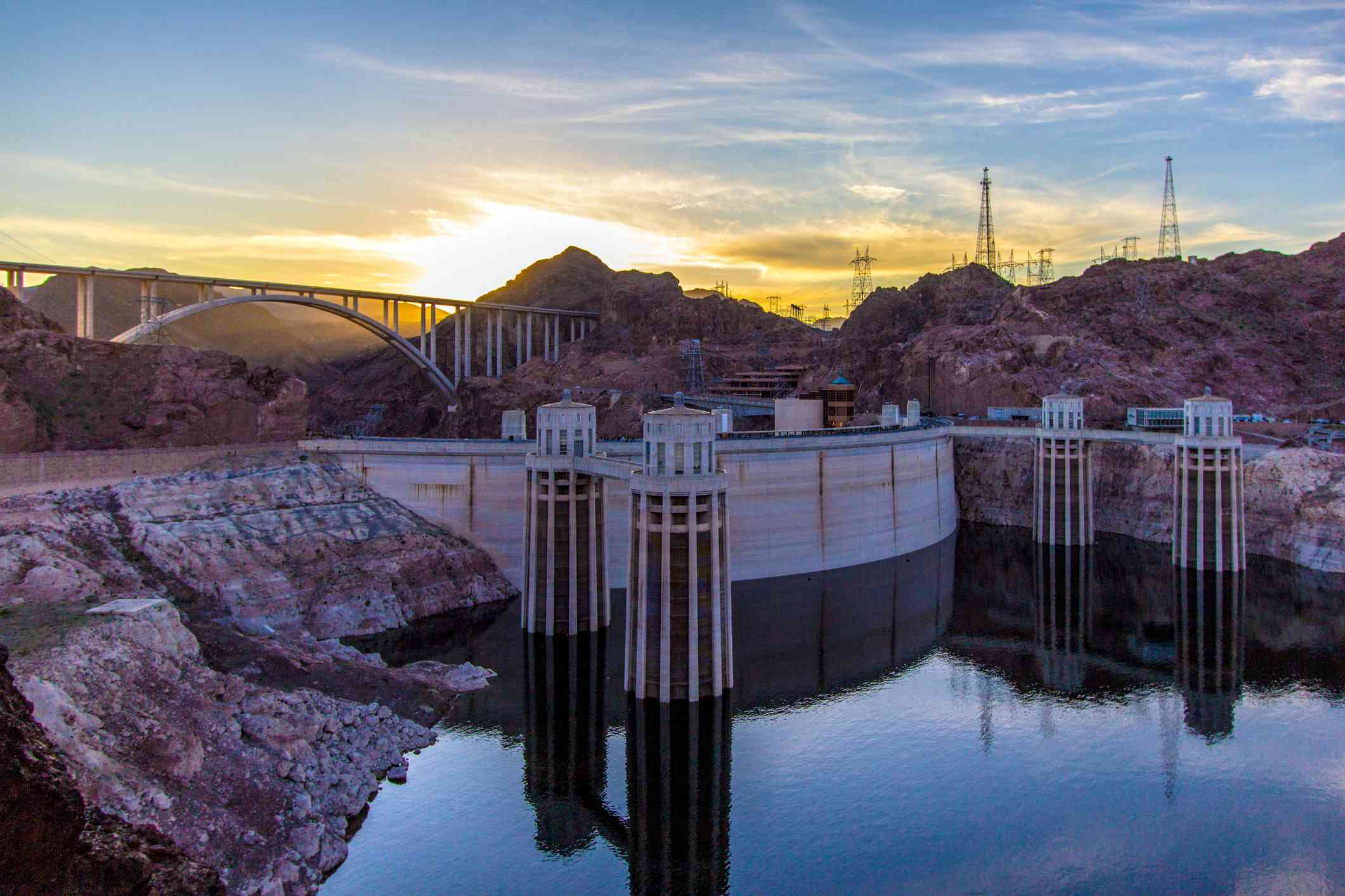 Panoramic Overlook At Hoover Dam And Lake Mead Recreation Area
