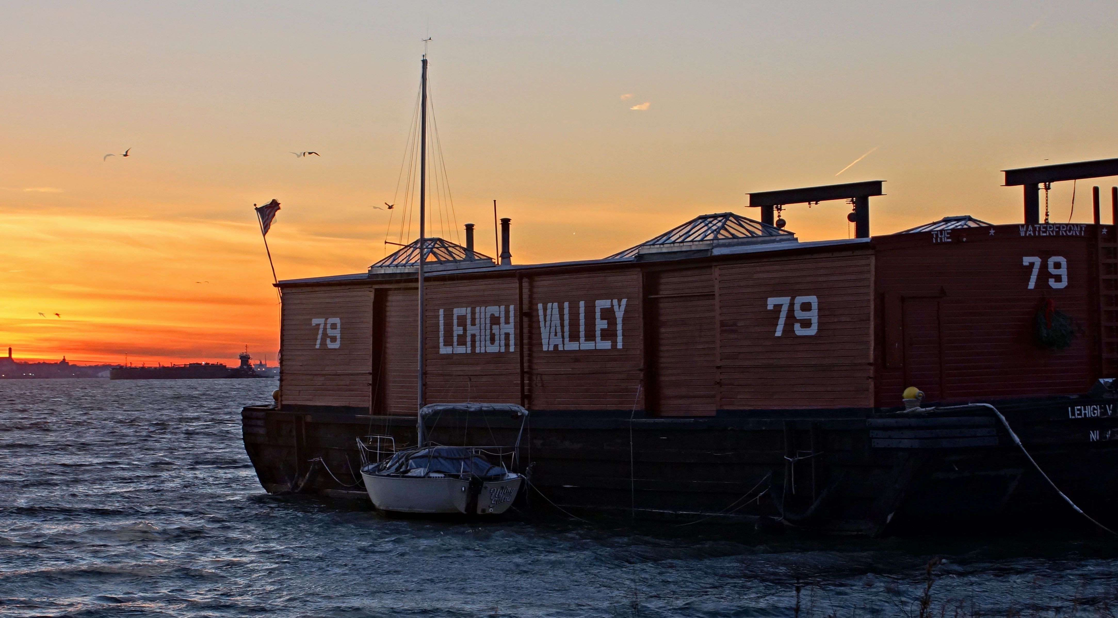 Waterfront Museum at Sunset in Red Hook, Brooklyn