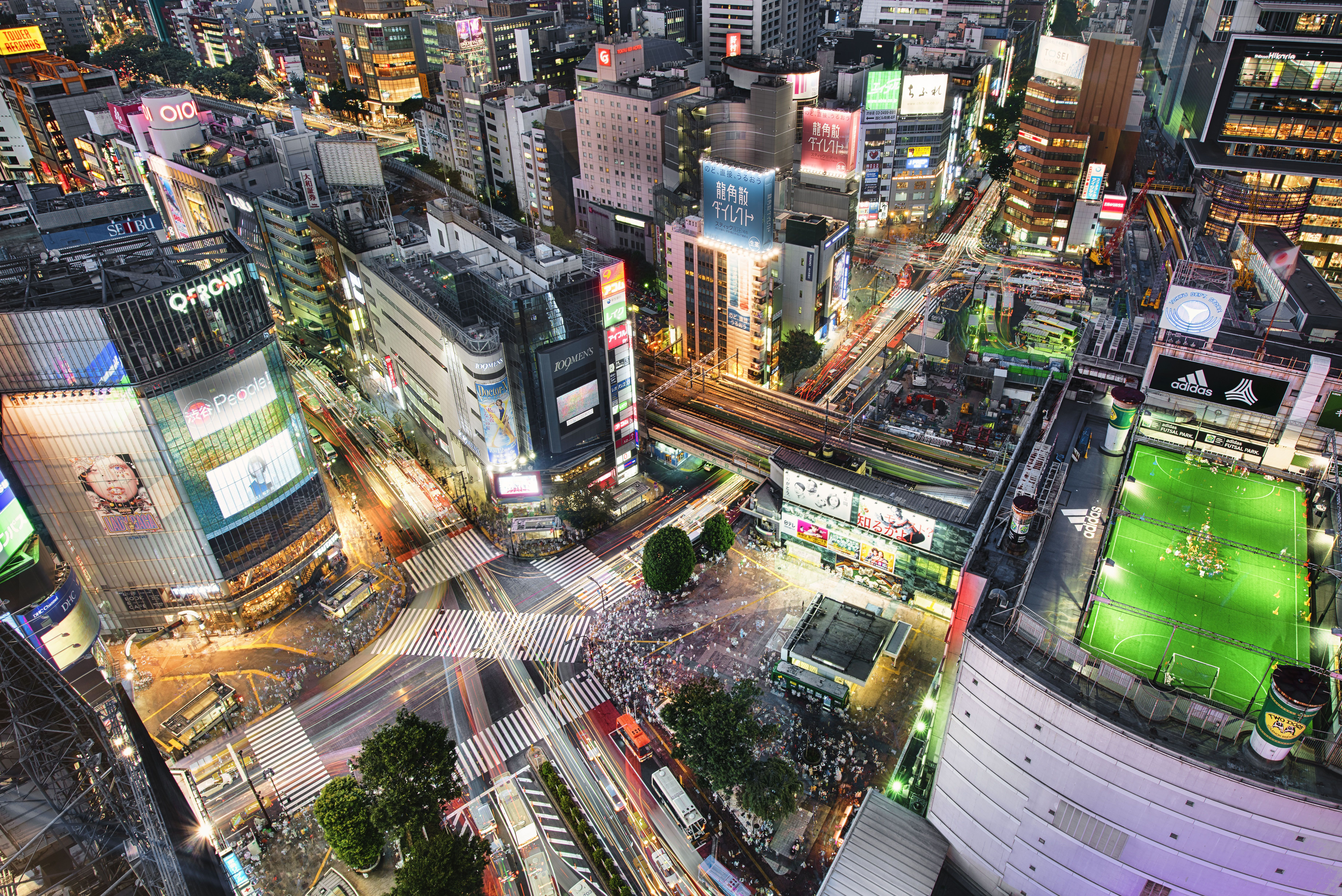 The famous Shibuya crossing - the busiest intersection in the world