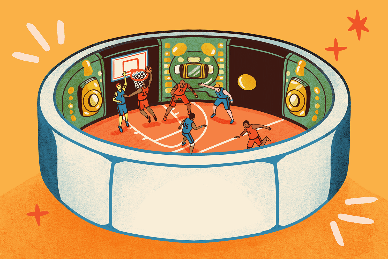 Illustration of NBA players playing in the bubble surrounded by virtual screens