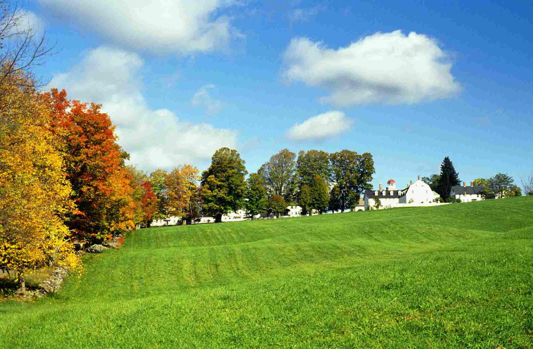 Shaker village at fall near Canterbury, New Hampshire