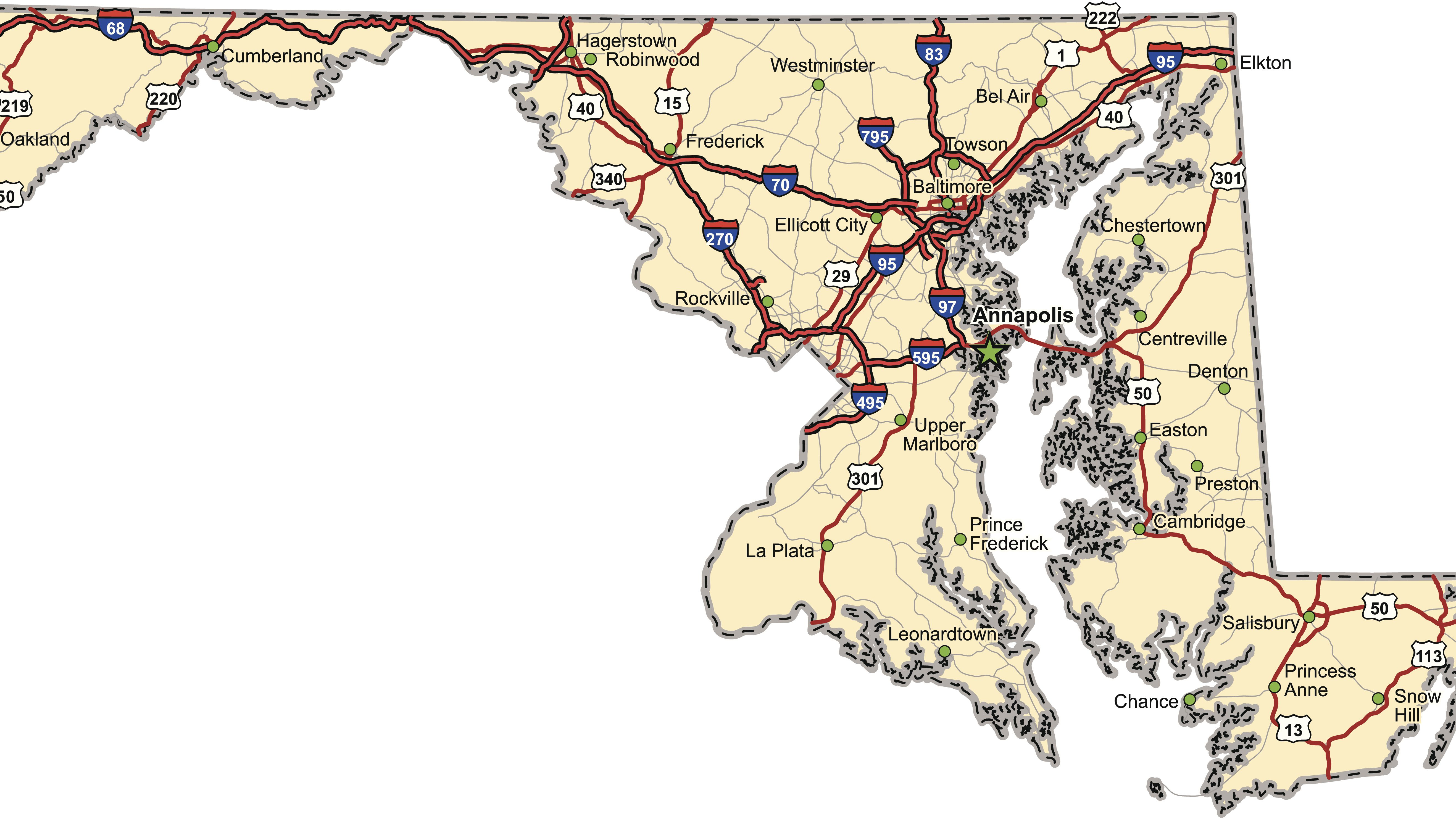 Maryland Map, Location and Geography