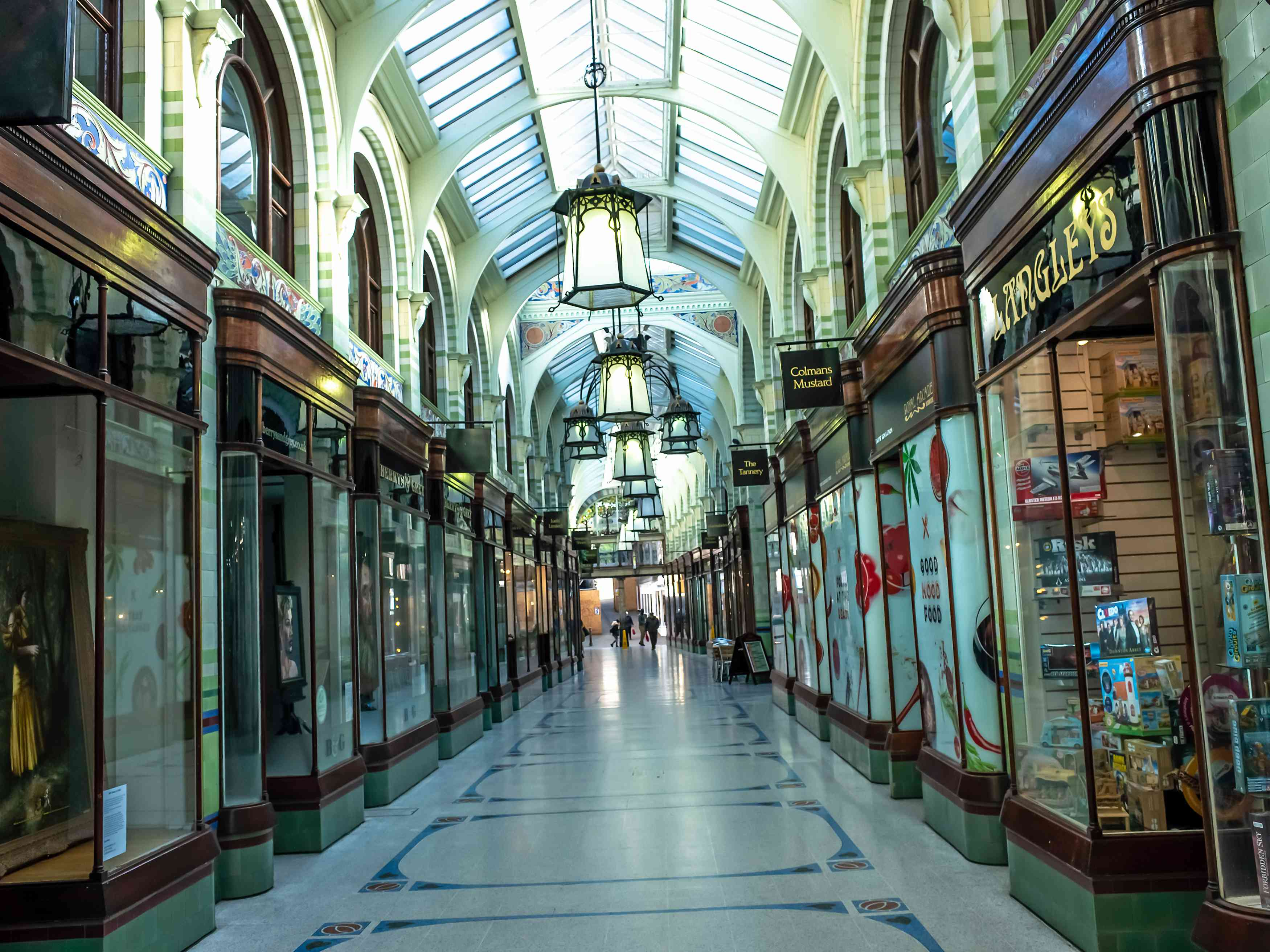The inside of the Royal Arcade, a Victorian shopping centre, in the city of Norwich