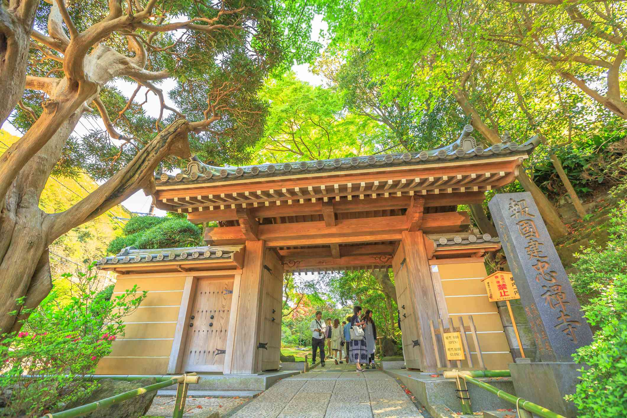 main gate entrance of Take-dera Temple or Hokoku-ji, one of Buddhist Zen temples in Kamakura, Kanagawa Prefecture, famous for a vast bamboo forest.