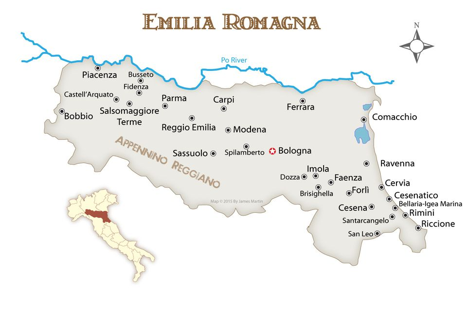 Map Of Italy With Towns.Where To Go In The Emilia Romagna Region Of Italy