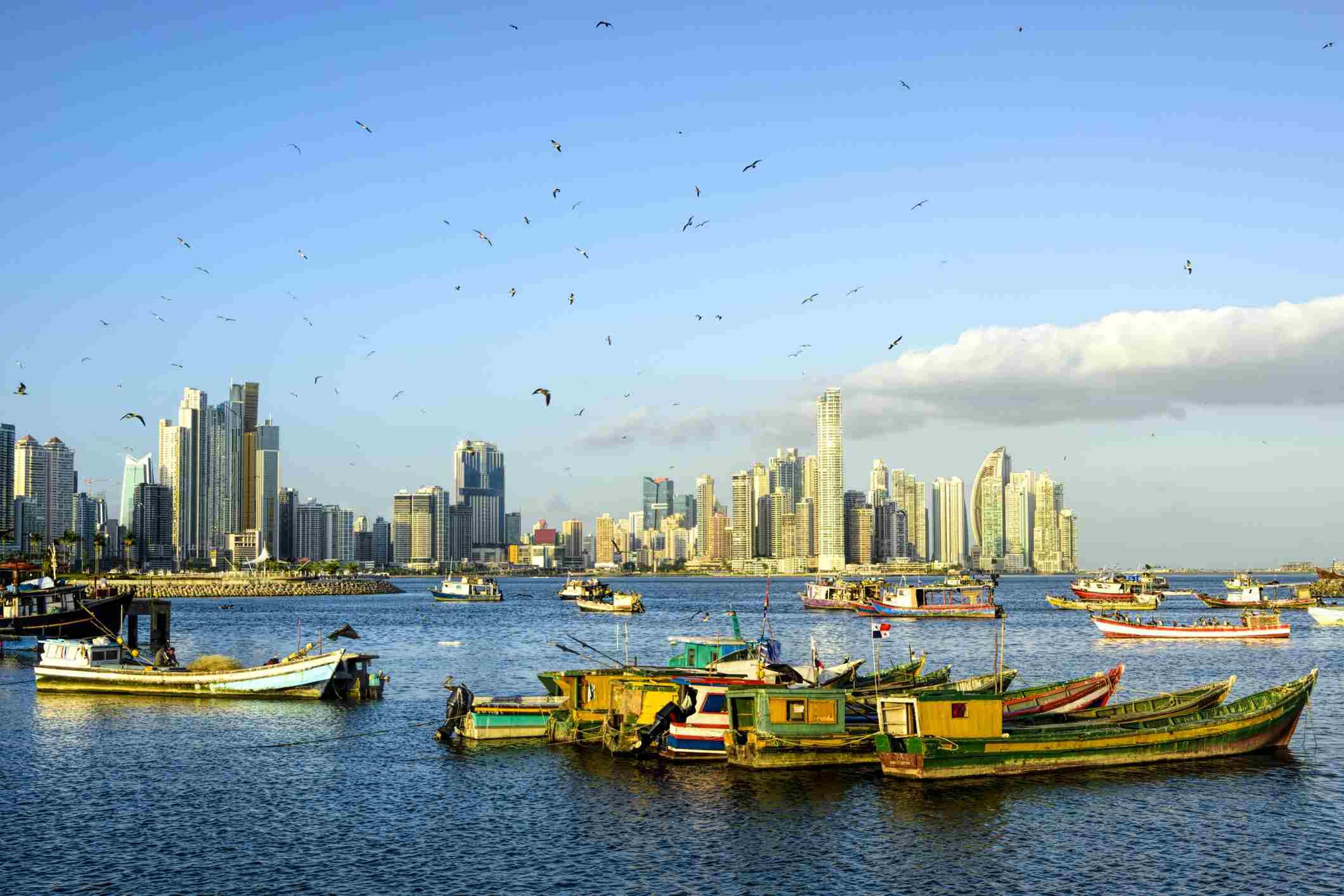 XXXL: Fishing Boats with Panama City skyline