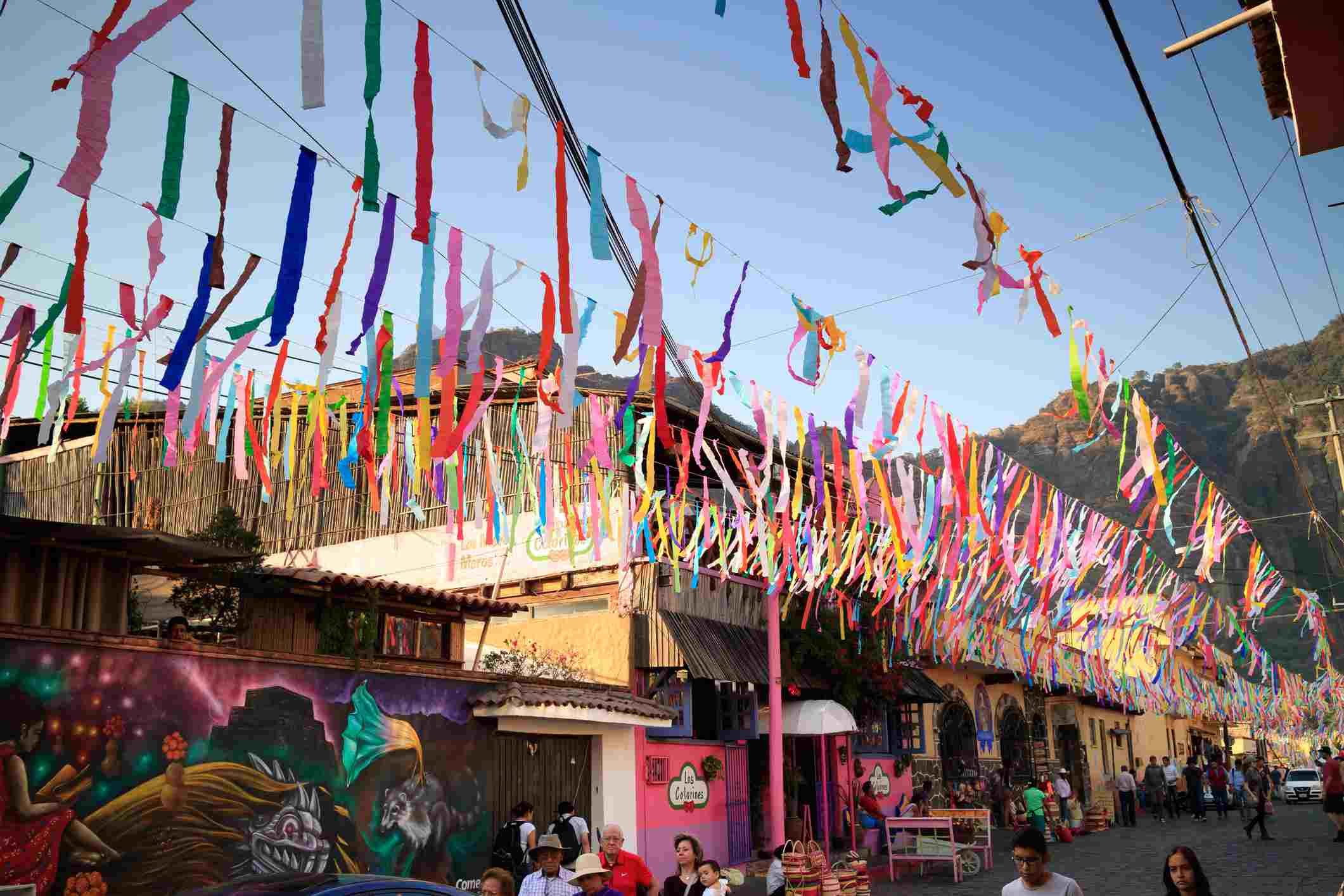 Fiesta time in Tepoztlan, Mexico, with brightly colored streamers and decorations