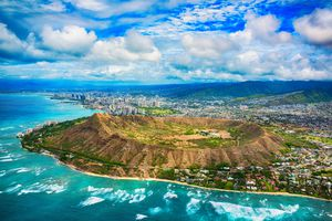 Arial view of Diamond Head Crater on the island of Oahu