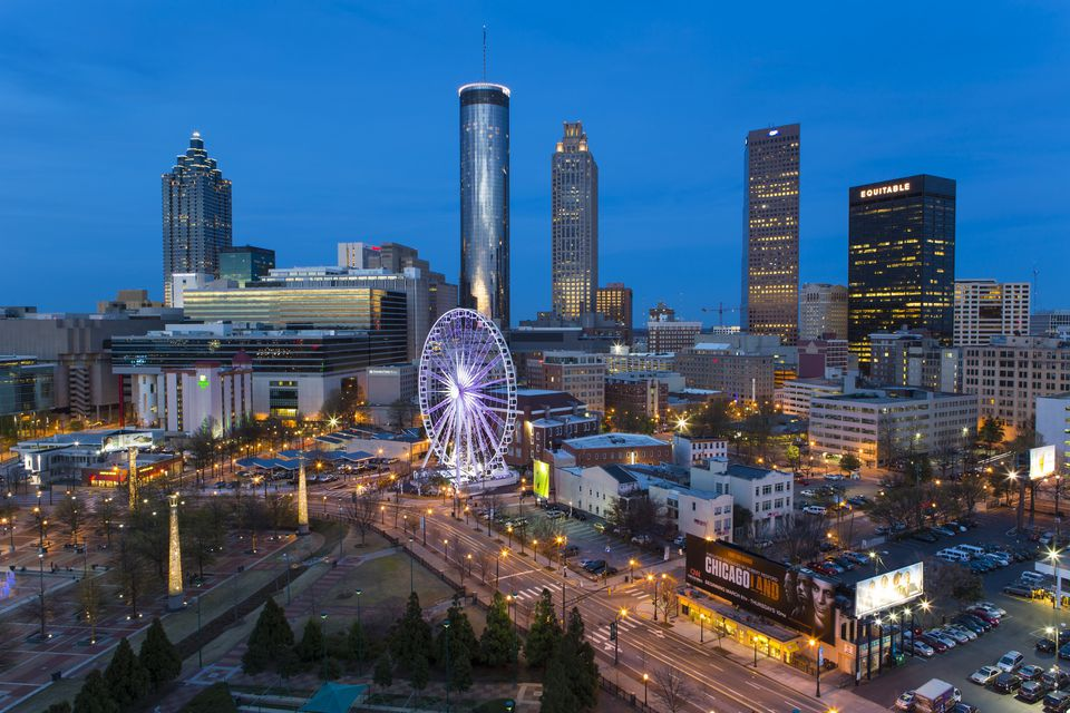 Aerial view over Downtown Atlanta and Centennial Olympic Park
