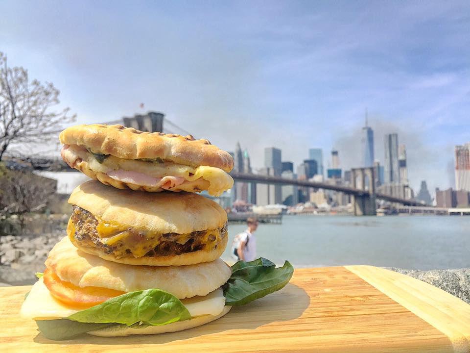 three sandwiches from Demascus Bakery eaten at Brooklyn Bridge Park