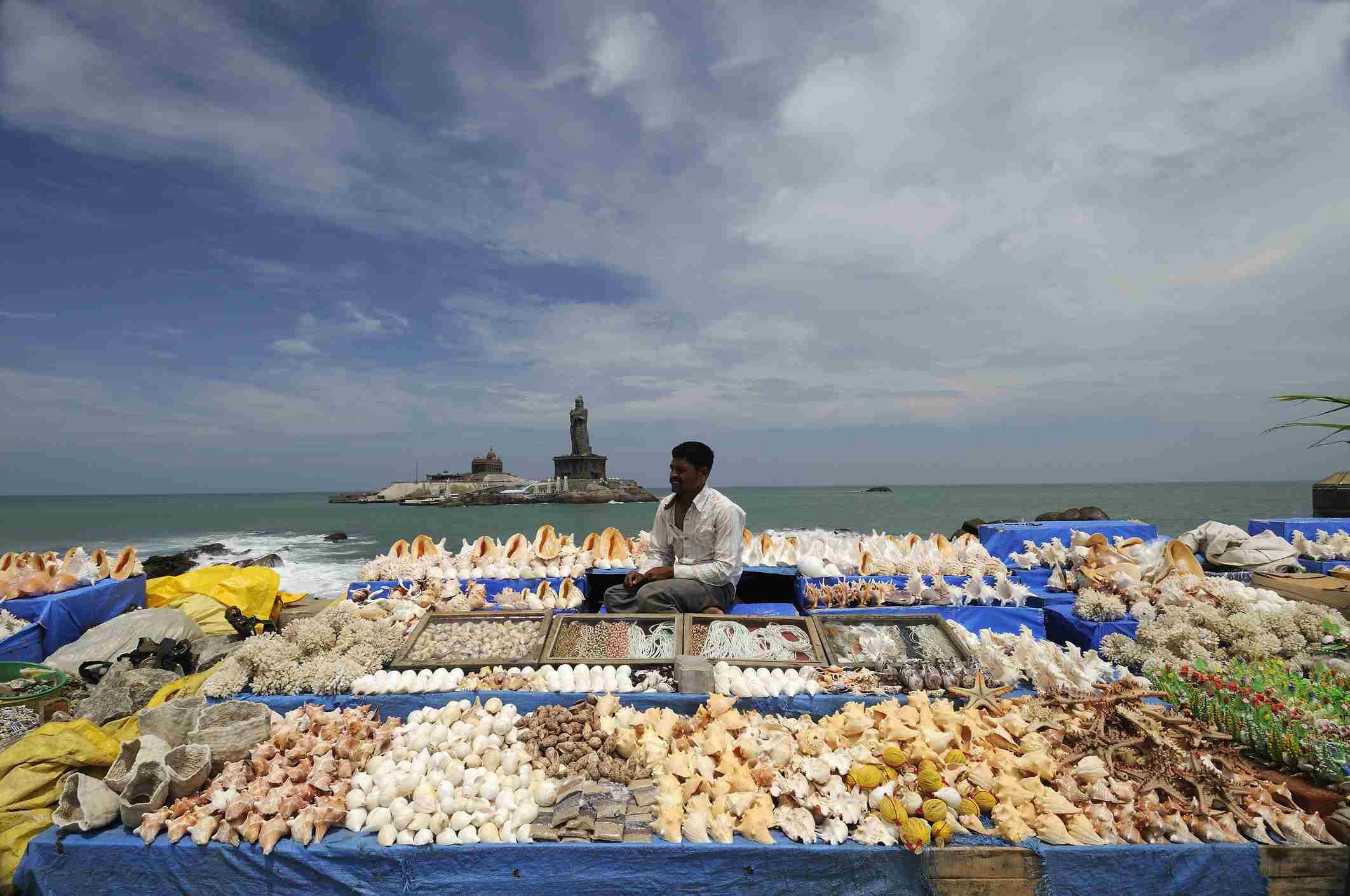 Vendor selling sea shells at Kanyakumari.