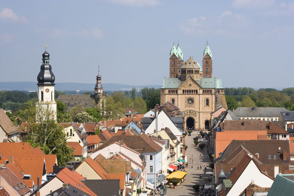 View over roofs to cathedral, Speyer, Rhineland-Palatinate, Germany