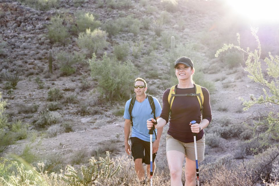 Couple hiking in the Phoenix desert