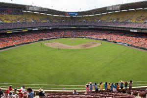 Washington Nationals baseball team playing at Nationals Park baseball stadium.
