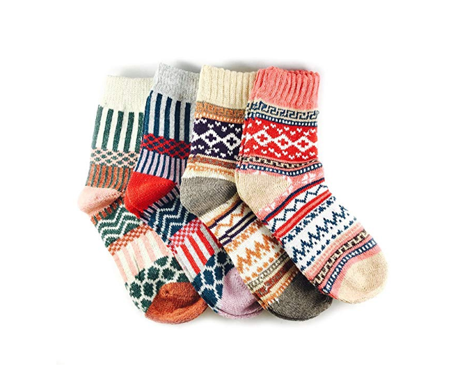 5 PAIRS LADIES NORDIC RED//WHITE KNEE HIGH WOOL BLEND THERMAL XMAS SOCKS  4-8