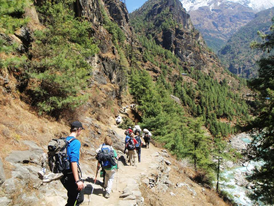 A group hiking on the Himalayan Trek