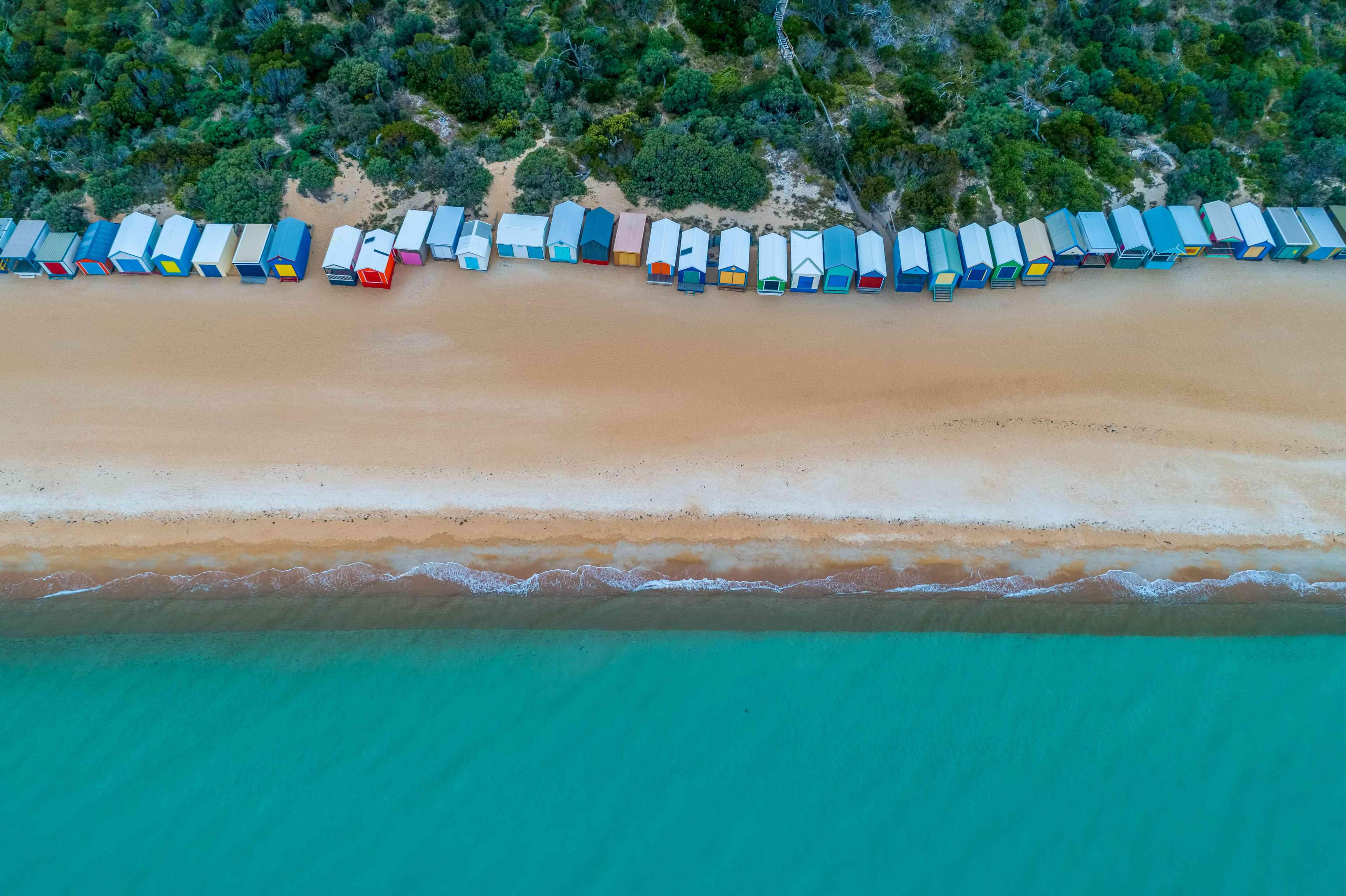 Iconic beach huts in Melbourne, Australia - aerial view