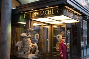 front entrance of Hotel Sacher in Vienna