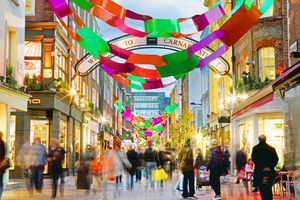 People shopping on Carnaby Street at Christmas