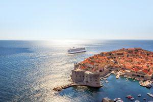 Viking cruise ship off the coast of Dubrovnik Croatia