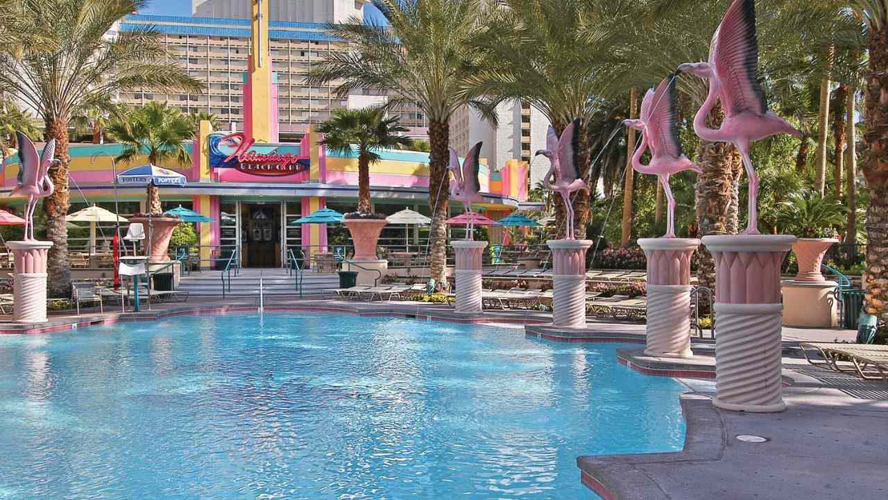 Several flamingo fountains around a swimming pool